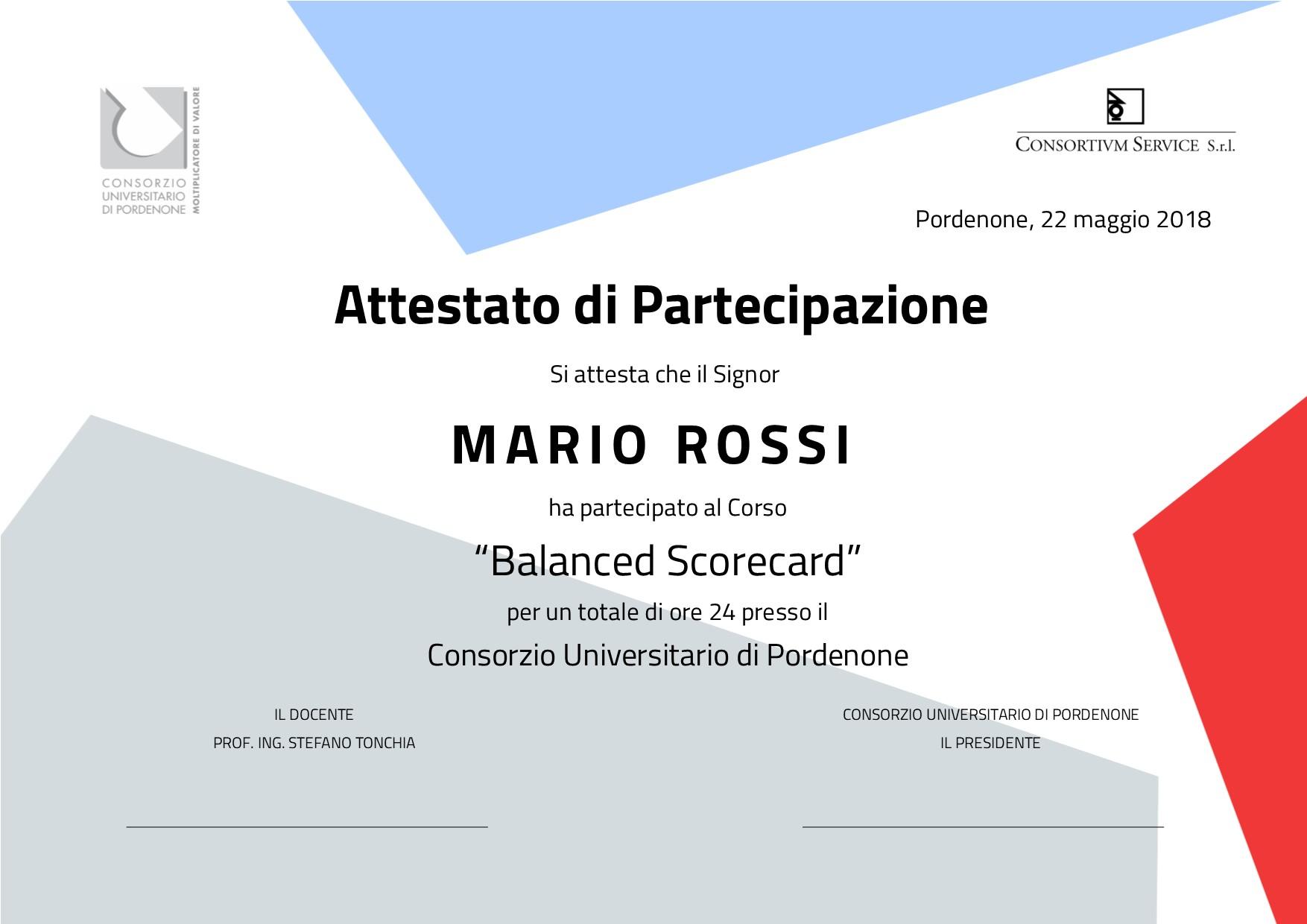 Corso Balanced Scorecard Consortium Service