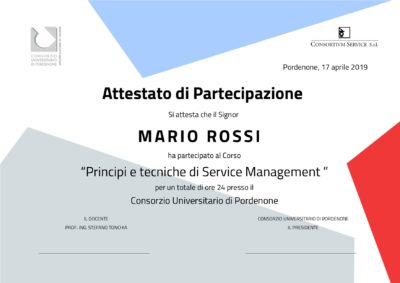 Attestato corso Service Management Stefano Tonchia