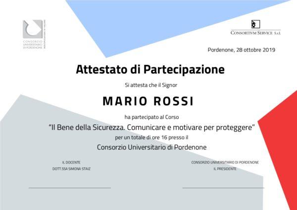 Attestato corso CRM Customer Relationship Management Consortium Service