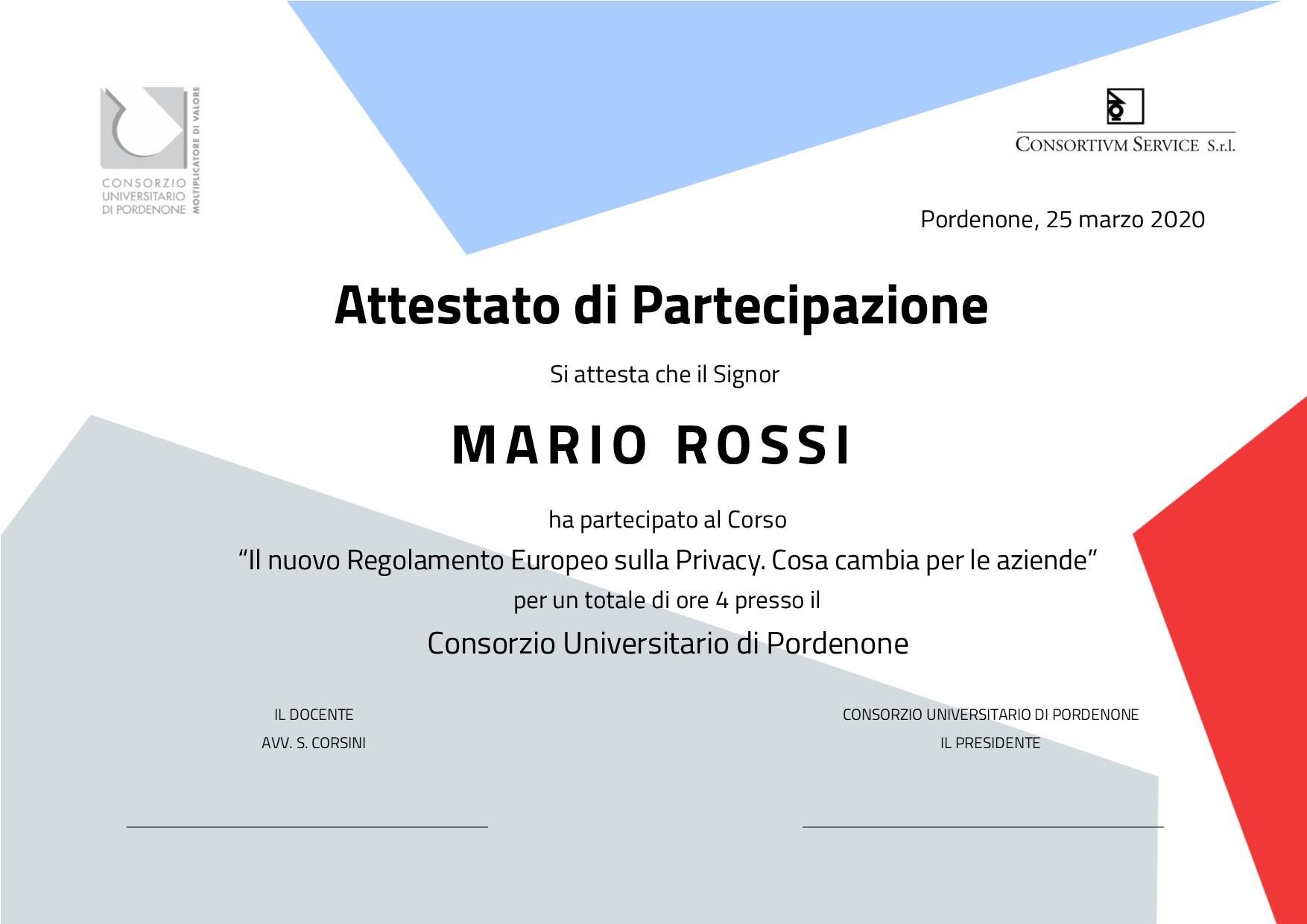 Corso nuovo Regolamento Europeo Privacy Consortium Service