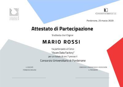 Attestato corso Azure Data Factory Consortium Service