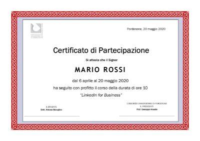Attestato corso LinkedIn for Business Consortium Service